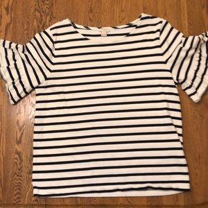 J Crew ruffle-sleeve t-shirt